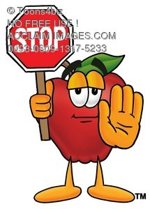 An apple holding up a stop sign and his hand