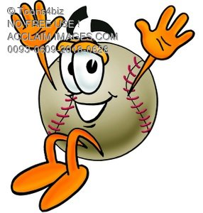 A baseball with its hands up