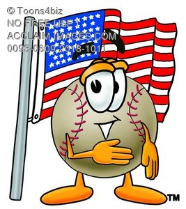 A baseball and american flag
