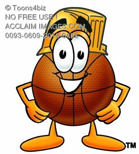 A basketball wearing a hardhat