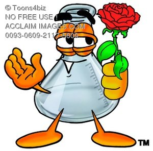 A beaker holding a rose