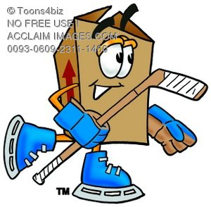 A cartoon illustration of a hockey playing box