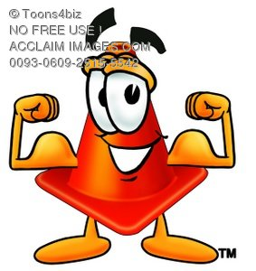 Cone Cartoon Character Flexing His Muscles