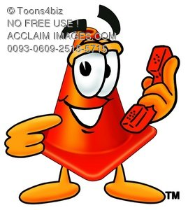 Cone Cartoon Character Holding a Phone