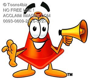 Cone Cartoon Character Screaming Into a Megaphone