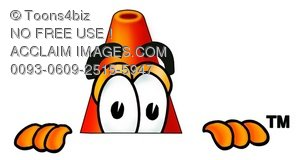Cone Cartoon Character Peeking