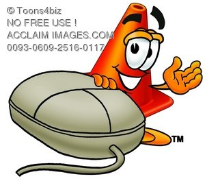 Cone Cartoon Character With a Computer Mouse