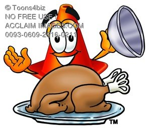 Cone Cartoon Character Serving a Thanksgiving Turkey