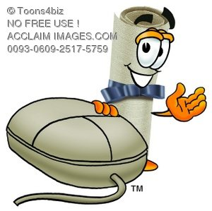 Diploma Cartoon Character With a Computer Mouse