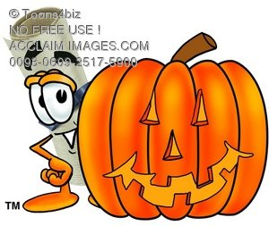 Diploma Cartoon Character With a Halloween Pumpkin