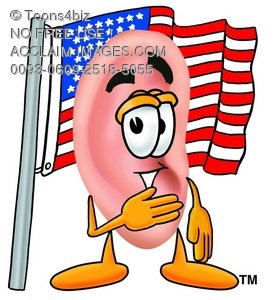 Ear Cartoon Character With an American Flag