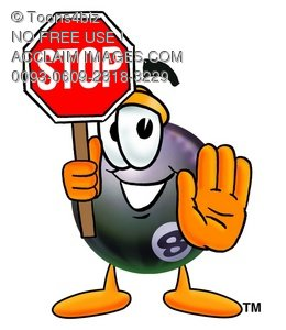 Eight Ball Cartoon Character Holding a Stop Sign