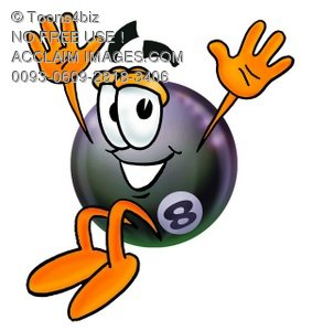 Eight Ball Cartoon Character Jumping