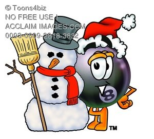 Eight Ball Cartoon Character With a Snowman