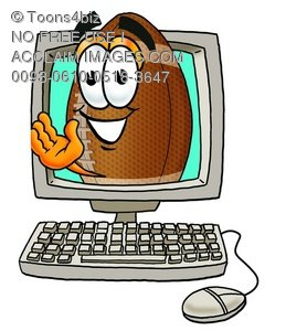 Football Cartoon Character in a Computer Screen