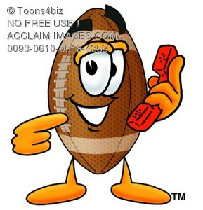 Football Cartoon Character Holding a Phone