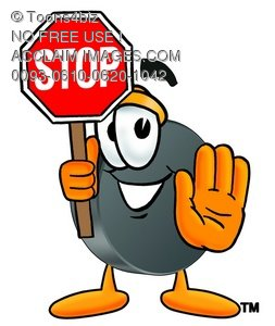 Hockey Puck Cartoon Character Holding a Stop Sign