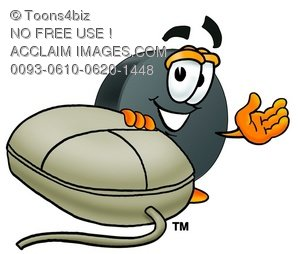 Hockey Puck Cartoon Character With a Computer Mouse