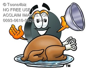 Hockey Puck Cartoon Character Serving a Thanksgiving Turkey