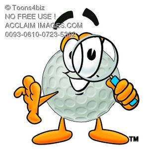 Golf Ball Cartoon Character Looking Through a Magnifying Glass