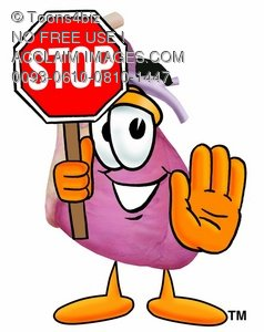 Heart Cartoon Character Holding a Stop Sign