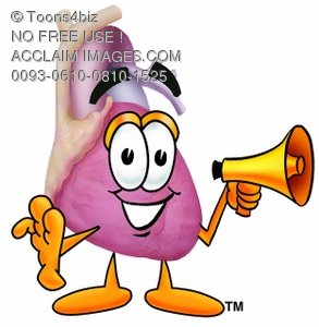 Heart Cartoon Character Holding a Megaphone