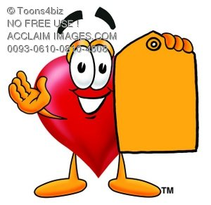 Heart Cartoon Character Holding a Yellow Price Tag