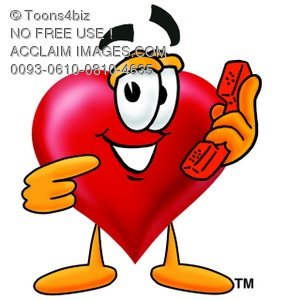 Heart Cartoon Character Holding a Phone