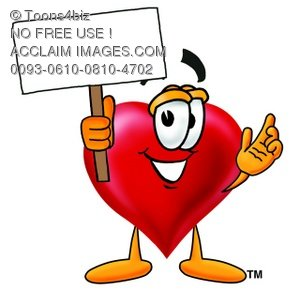 Heart Cartoon Character Holding a Blank Sign