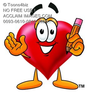 Heart Cartoon Character Holding a Pencil