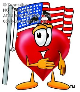 Heart Cartoon Character With an American Flag