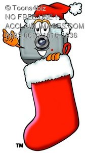 Camera Cartoon Character in a Christmas Stocking
