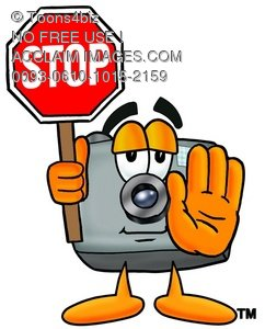 Camera Cartoon Character Holding a Stop Sign