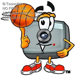 Camera Cartoon Character Spinning a Basketball