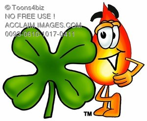 Flame Cartoon Character With a Four Leaf Clover