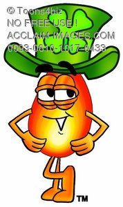 Flame Cartoon Character Waring a St Patricks Day Hat
