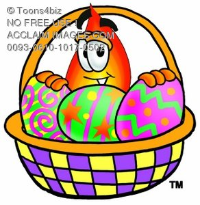 Flame Cartoon Character With Easter Eggs In a Basket