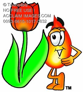 Flame Cartoon Character With a Spring Tulip