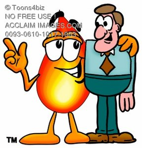 Flame Cartoon Character Talking To a Businessman
