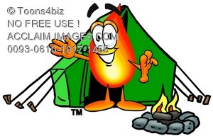 Flame Cartoon Character Camping