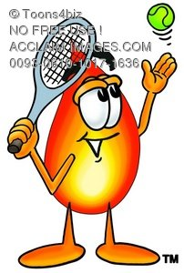Flame Cartoon Character Playing Tennis