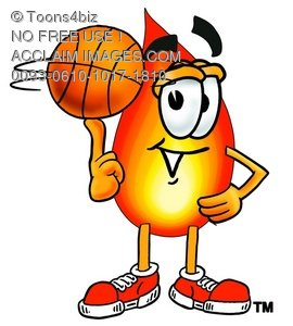 Flame Cartoon Character Spinning a Basketball
