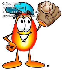 Flame Cartoon Character Playing Baseball