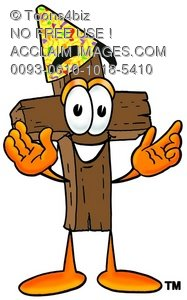 Wooden Cross Cartoon Character Wearing a Party Hat