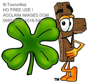 Wooden Cross Cartoon Character With a Four Leaf Clover