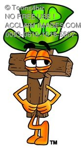 Wooden Cross Cartoon Character Waring a St Patricks Day Hat