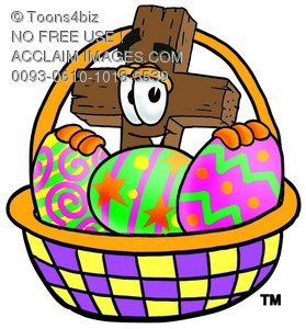 Wooden Cross Cartoon Character With Easter Eggs in a Basket