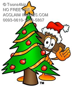 Wooden Cross Cartoon Character With a Christmas Tree