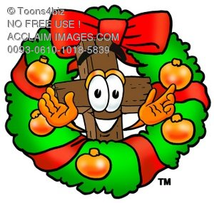 Wooden Cross Cartoon Character With a Christmas Wreath