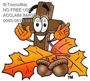 Wooden Cross Cartoon Character With Autumn Leaves and Acorns